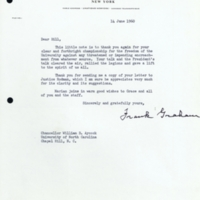 Letter from former UNC President Frank Porter Graham to Chancellor William B. Aycock
