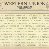 Telegram, Emmett B. Fields, Chair of the Southern Association of Colleges and Schools, to Chancellor Paul F. Sharp