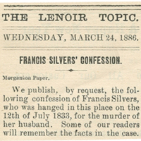 "Reprint of ""Frankie Silver's Confession"""