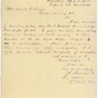 Letter, Augustus Landis to President Swain