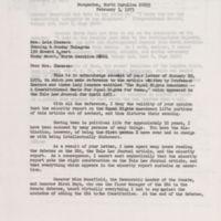 letter Sam Ervin to Lela Chesson, Feb 3, 1975