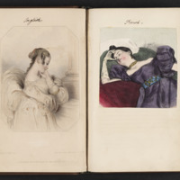 Researches into the Physical History of Man by James Cowles Pritchard open to added illustrations of an English woman and a French woman in romantic poses