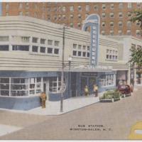 Postcard of Winston Salem bus station in North Carolina, 1950s