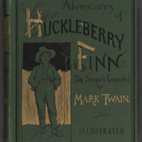 Cover of Adventures of Huckleberry Finn by Mark Twain depicting Huckleberry Fin standing in front of a fence