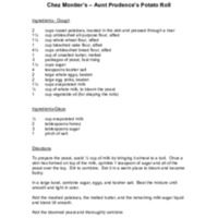 Chez Montier's Aunt Prudence's Potato Rolls Recipe Page 1