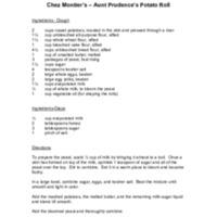 Chez Montier's Aunt Prudence's Potato Rolls Recipe