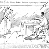 White Girls Proving Witness Tickets Before a Negro Deputy Clerk of the Court.
