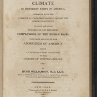 Title page of Observations on the Climate in Different Parts of America by Hugh Williamson