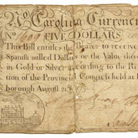 Five dollar North Carolina paper money, 1775