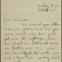 Letter from James Lee Peeler to Corporal Lawrence T. Peeler, 28 October 1918