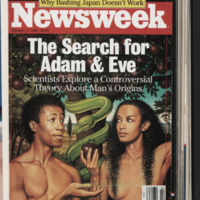 Cover of Newsweek from 1988 depicting the biblical Adam and Eve as Black individuals