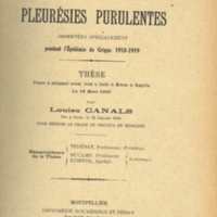 "Title page of ""Pleurésies purulentes observées specialément pendant l'Épidémie de Grippe 1818-1919"" [""Purulent pleurisy observed especially during the Influenza Epidemic 1818-1919""]"