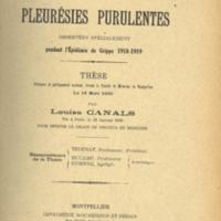 """Title page of """"Pleurésies purulentes observées specialément pendant l'Épidémie de Grippe 1818-1919"""" [""""Purulent pleurisy observed especially during the Influenza Epidemic 1818-1919""""]"""