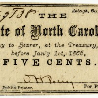 North Carolina 5 cent Treasury note issued during Civil War
