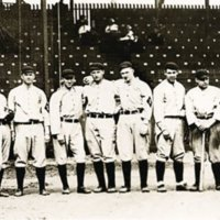 Baltimore Orioles baseball team, 1914.  Babe Ruth, far right.