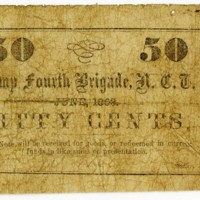 W. Shelburn, sutler, Camp Fourth Brigade, North Carolina Troops, 50 cents paper money, 1863