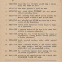 Twelve Reasons Why Women Should Vote. Raleigh: Equal Suffrage Association of North Carolina, ca. 1920