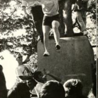 Students jumping from Silent Sam, 1968