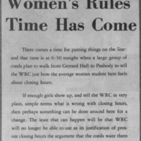 """Women's Rules Time Has Come"""
