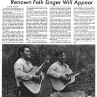 Renown Folk Singer Will Appear