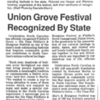 Union Grove Festival Recognized by State