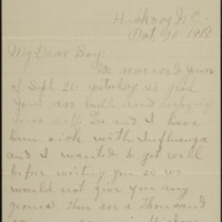 Letter from Etta Eleanor Rankin Peeler to Corporal Lawrence T. Peeler, 20 October 1918