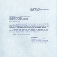 Letter from Melicent Huneycutt to Chancellor J. Carlyle Sitterson