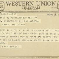 Telegram, J. M. Mitchell to Chancellor Aycock