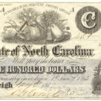 N.C. Civil War treasury note, $100, 1862