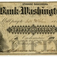 Bank of Washington $50, 1855