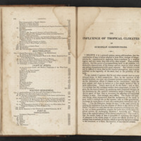 Opening passage and table of contents of The Influence of Tropical Climates on European Constitutions by James Johnson