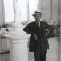 Isaac Hathaway Next to Column Sculpture