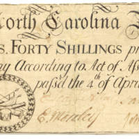1748 40 shillings paper money