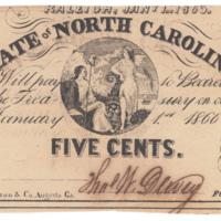 NC Civil War treasury note 5 cents, 1863
