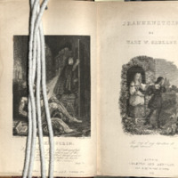 Frontispiece and title page to Frankenstein (Bentley and Colburn edition)