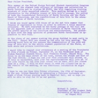 Letter from Michael H. Lawler to the student body presidents of the constituent campuses of the Consolidated University
