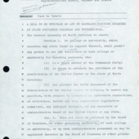 Chancellor Aycock's copy of House Bill 1395, with notes