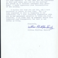 William Phillips Shively to Chancellor Sitterson