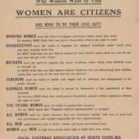 Women Are Citizens. Raleigh: Equal Suffrage Association of North Carolina, ca. 1920