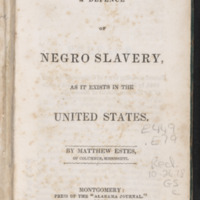 In Defence of Negro Slavery, As It Exists in the United States