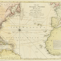 """A map entitled """"A new chart of the vast Atlantic or Western Ocean"""" depicting trade routes across the Atlantic Ocean by Thomas Bowen, 1792"""