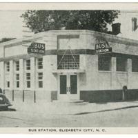 Postcard of Elizabeth City bus station in North Carolina, 1950s