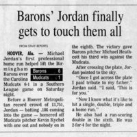 Raleigh News & Observer July 31, 1994- Michael Jordan's first professional baseball home run