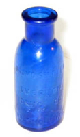 "Bottle, molded blue glass inscribed with raised lettering on its side ""BROMO SELTZER / EMERSON / DRUG CO. / BALTIMORE M.D."" and the numerals ""33"" on its bottom"