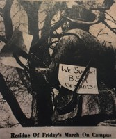 "Silent Sam with ""We Support BSM Demands"" sign, 1969"