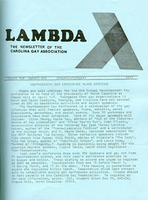 Lambda, The Newsletter of the Carolina Gay Association
