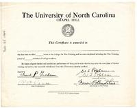 College for War Training certificate of completion